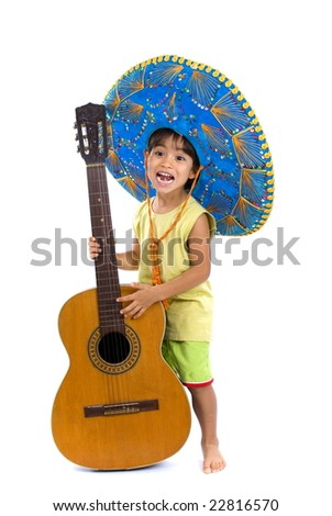 Child with Mexican hat playing guitar - stock photo