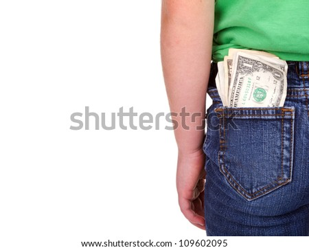 Child with money in pocket, isolated on white - stock photo