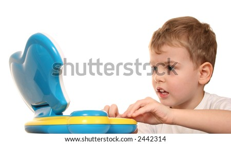 child with notebook - stock photo