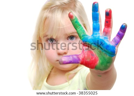 child with paint on hands - stock photo