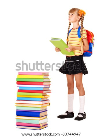 Child with pile of books. Isolated. - stock photo