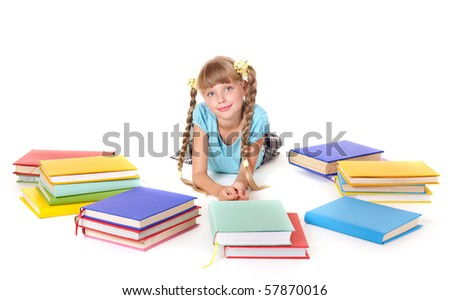 Child with pile of books  lying on floor. Isolated.