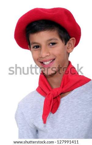 Child with red beret - stock photo