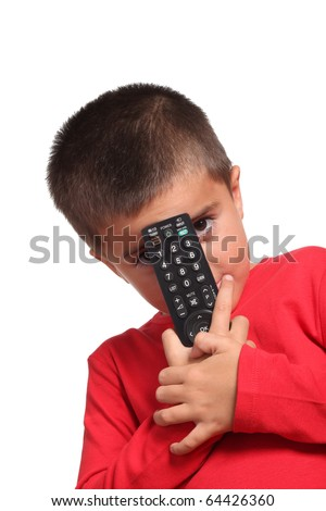 child with remote control  isolated on white background - stock photo