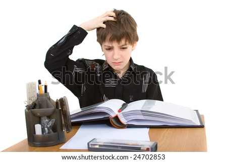 child with study of the difficulties on white background