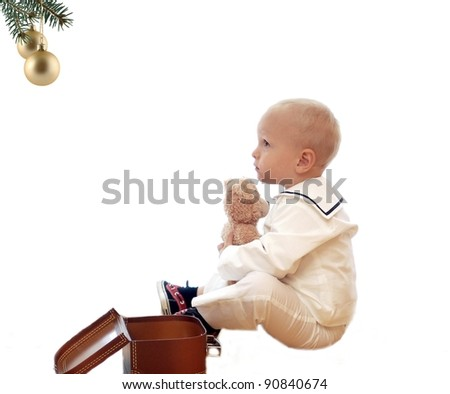 Child with teddy - stock photo