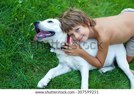 Child With the dog - stock photo