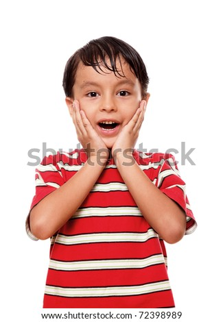 Child with the hands on his face in signal of surprise