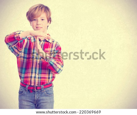Child with time out gesture