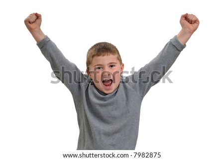Child yelling with arms in the air - stock photo