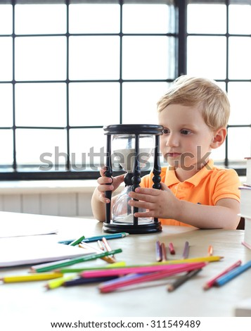 Child, young. Cute boy at home - stock photo