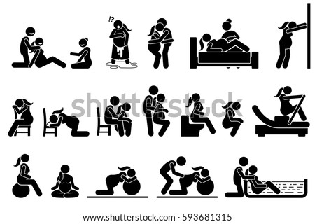 Childbirth labor positions and postures at home. Natural birthing class that include yoga, exercise, meditation, and water birth technique. Illustrations in stick figures pictogram.