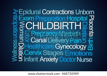 Childbirth Word Cloud on Blue Background