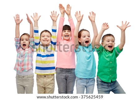 childhood, fashion, gesture and people concept - happy smiling friends raising fists and celebrating victory - stock photo