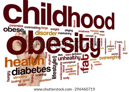 Childhood obesity word cloud concept - stock photo