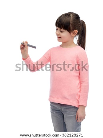 childhood, preschool education, creativity, learning and people concept - happy little girl drawing or writing something with marker - stock photo