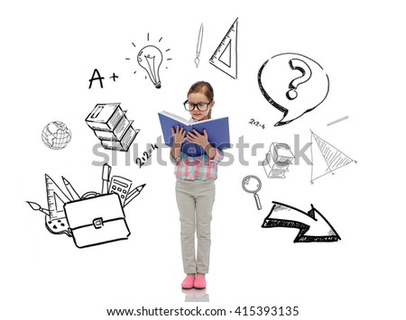 childhood, school, education and people concept - happy little girl in eyeglasses reading book with doodles - stock photo