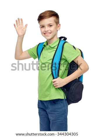 childhood, school, education, greeting gesture and people concept - happy smiling student boy with school bag waving hand - stock photo