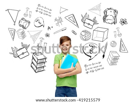 childhood, school, education, learning and people concept - happy smiling student boy with folders and notebooks with doodles - stock photo