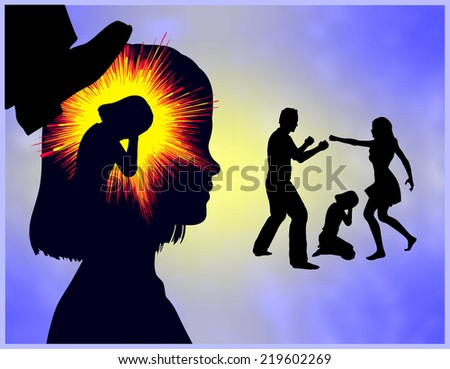 Childhood Trauma. Girl with traumatic experience through domestic violence in the family - stock photo