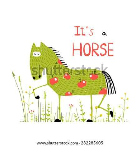 Childish Colorful Fun Cartoon Horse in Grass Field. Funny animal illustration for children. Raster variant. - stock photo