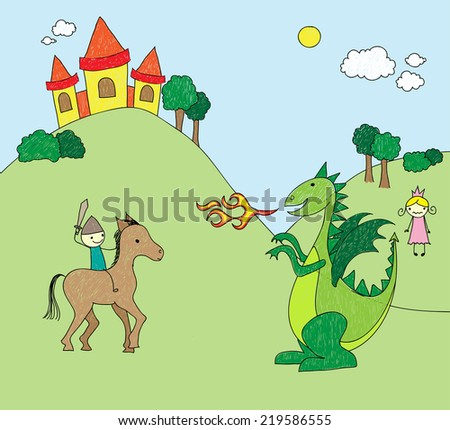 Childish drawing of a knight fighting a dragon for the princess - stock photo