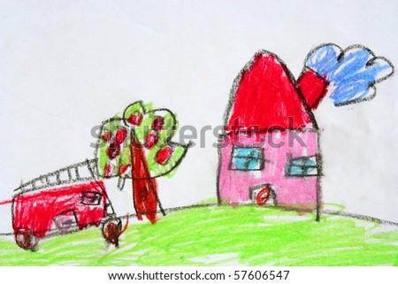 childish drawn home, car and tree - stock photo