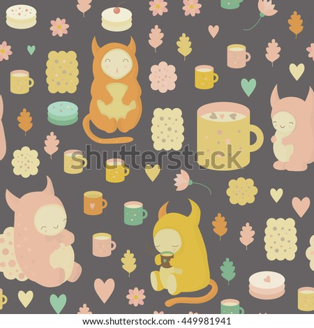 Childish dreamy seamless background with cute monsters, tea, mugs, cookies, cakes, cocoa and flowers . Seamless pattern - stock photo