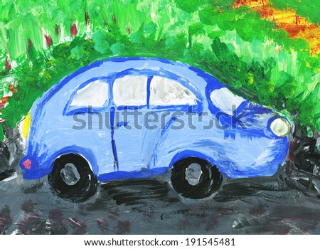 Childish hand painted blue car on the road painting - stock photo