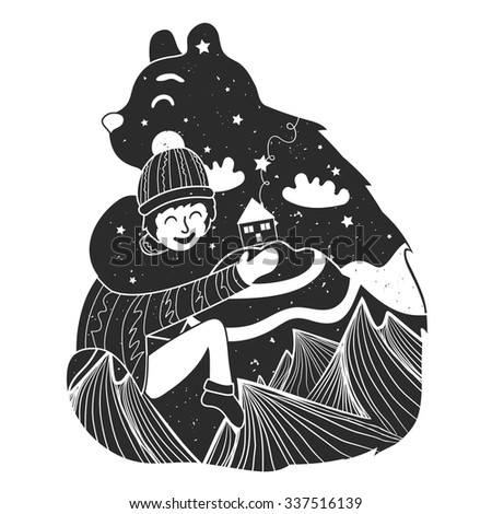 childish illustration with bear and little boy. Cute typography poster with mountains, house, stars and clouds inside. T-shirt design, home decoration, greeting postal cards. Friendship concept - stock photo