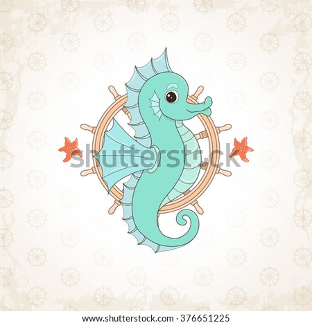 Childish seahorse, sea themed illustration. Sea baby birth announcement card. Baby, sweet, pretty personage design. Cute  cartoon T-shirt Graphics. Funny poster with vintage backdrop.