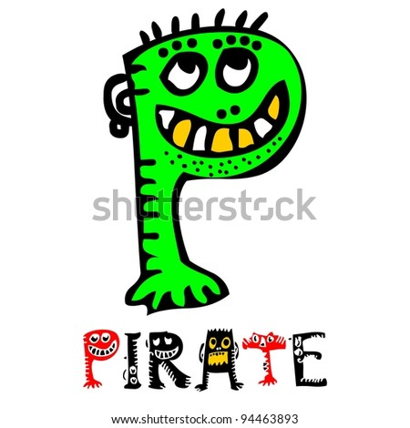 childlike crazy ABC, cute monster P isolated on white background