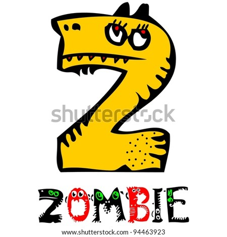 childlike crazy ABC, cute monster Z isolated on white background