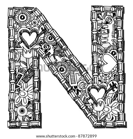 childlike doodle ABC, crazy letter N isolated on white background - stock photo