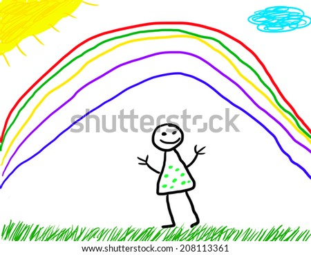 Childlike drawing of outside happiness - stock photo