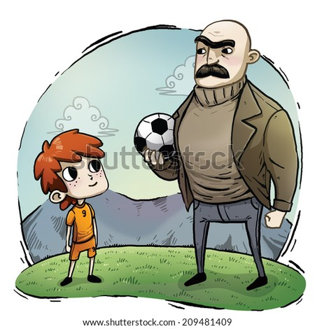 Children and adult with soccer ball toon - stock photo
