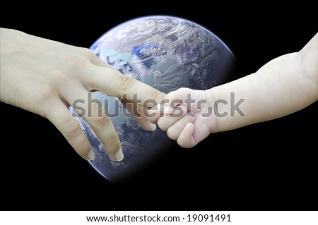Children and adults hand against the backdrop of the planet. Save the planet! - stock photo