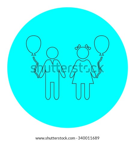 Children and Balloon. Black outline flat symbol on blue circle. Simple illustration pictograh on white background - stock photo