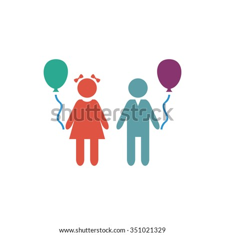 Children and Balloon. Colorful pictogram symbol on white background. Simple icon - stock photo