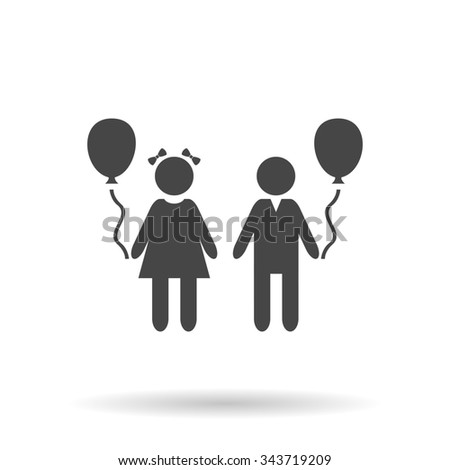 Children and Balloon. Flat icon on grey background with shadow - stock photo