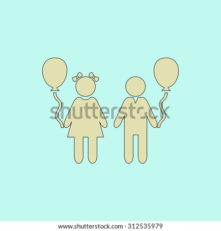 Children and Balloon. Flat simple line icon. Retro color modern illustration pictogram. Collection concept symbol for infographic project and logo - stock photo