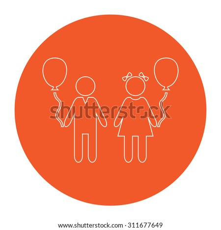 Children and Balloon. Flat white symbol in the orange circle. Outline illustration icon - stock photo