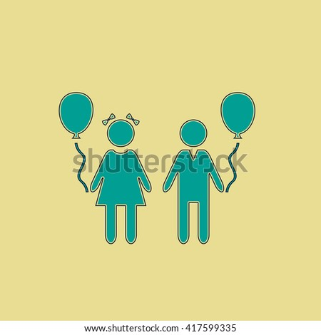 Children and Balloon. Grren simple flat symbol with black stroke over yellow background - stock photo