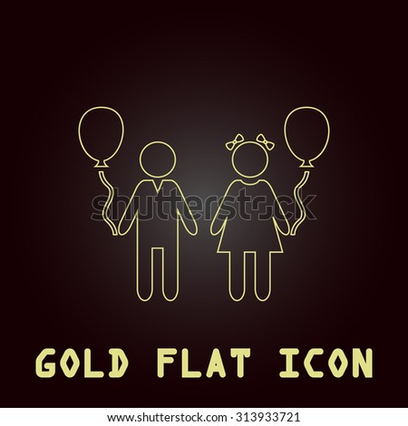 Children and Balloon. Outline gold flat pictogram on dark background with simple text. Illustration trend icon - stock photo