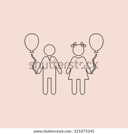Children and Balloon. Outline icon. Simple flat pictogram on pink background - stock photo