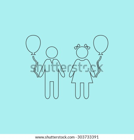 Children and Balloon. Outline simple flat icon isolated on blue background - stock photo