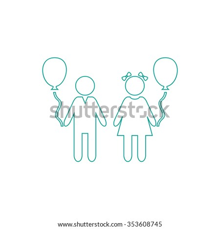 Children and Balloon. Outline symbol on white background. Simple line icon - stock photo