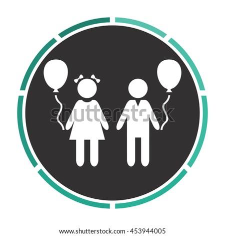 Children and Balloon. White circle button on black background - stock photo