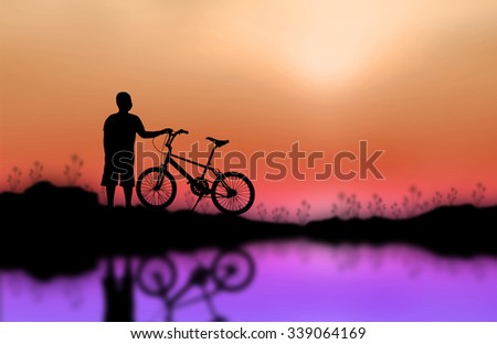 Children and bike silhouette on the surface. Sunset background - stock photo