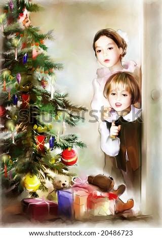 children and christmas tree - stock photo